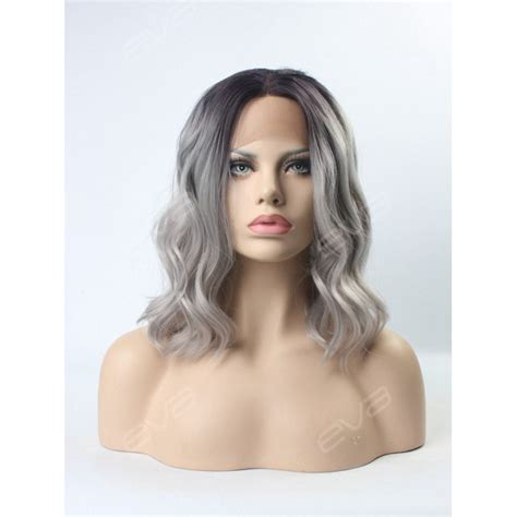 Medium Wig Synthetic Wavy Black Fark Brown evahair grey ombre wavy medium length synthetic lace front