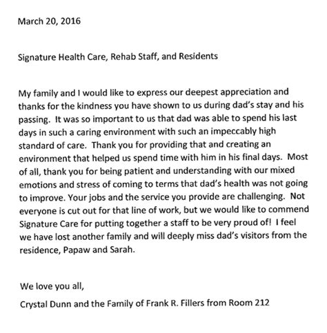 appreciation letter to employee family a letter of deepest appreciation signature healthcare of