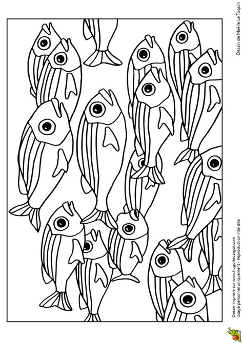 Dessin De Banc by Coloriage D Un Banc De Poissons Multicolores