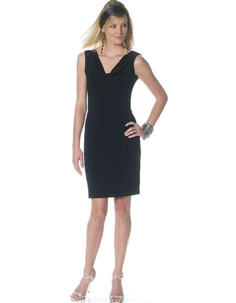 Lower V Shape Knit Dress mccall s 6282 flattering knit cowl top dress pattern