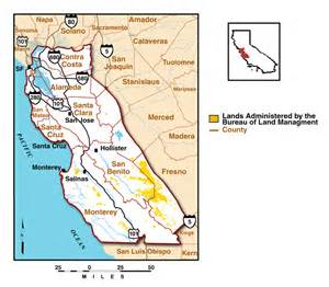 map of central coast field office administered lands