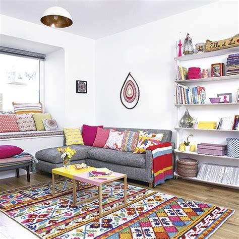 living room cushions uk living room with brightly coloured cushions and rug