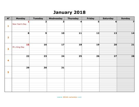 2018 Monthly Calendar Printable 2018 Calendar