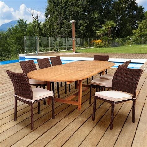 Amazonia Noah 8 Person Resin Wicker Patio Dining Set With