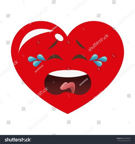 flat design icon heart flat design crying heart cartoon icon vector illustration