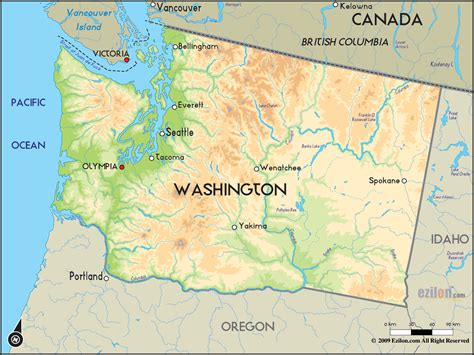 washing state map geographical map of washington and washington geographical