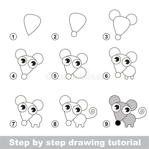 pattern drawing games drawing tutorial how to draw a little mouse stock vector