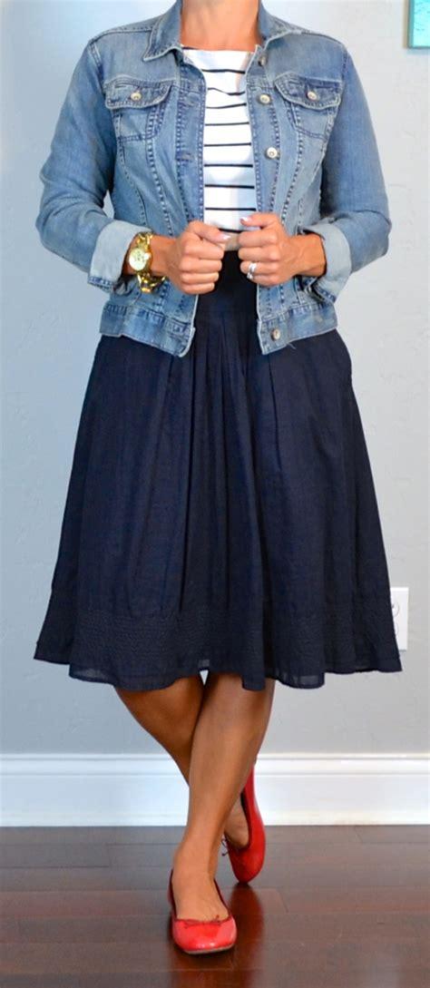 post striped shirt jean jacket navy a line skirt