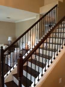 Metal Banister Wrought Iron Balusters At Stairs With Wood Treads