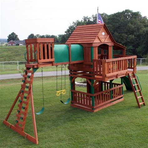 woodridge wooden swing set with slide new woodridge cedar wood giant playground swing set slide