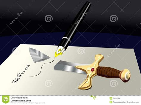 Pen Is Mightier Than Sword Essay by The Pen Is Mightier Than The Sword Stock Illustration Image 10839794