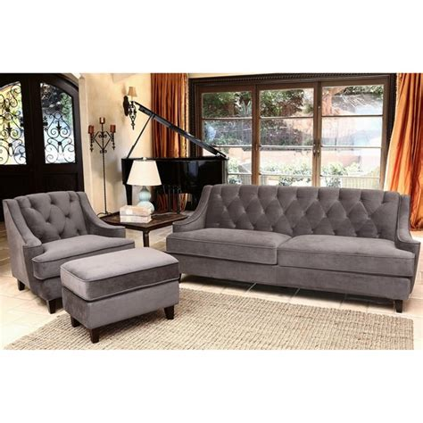 overstock living room sets abbyson living claridge velvet fabric 3 piece dark grey