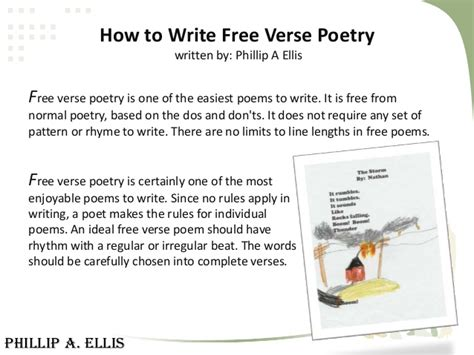 how to write free verse poetry written by phillip a ellis