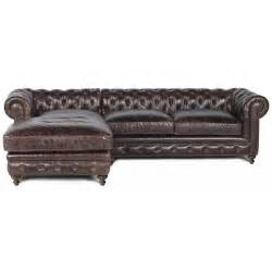 Leather Chaise Sofa Flint Cigar Leather Sofa With Right Arm Chaise