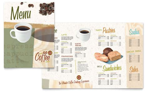 menu template publisher coffee shop menu template word publisher