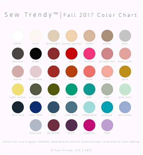 trendy colors 2017 sew trendy color chart fall winter 2017 sew trendy