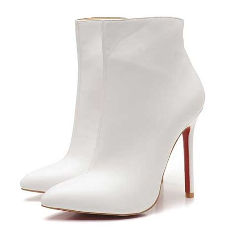 white boots for christian louboutin ankle boots 120mm white leather boots
