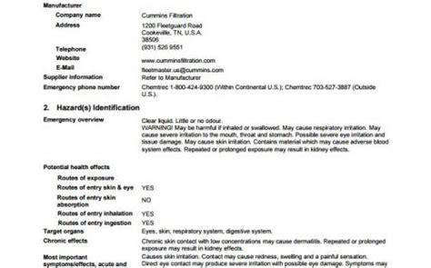 safety data sheets sds cummins filtration