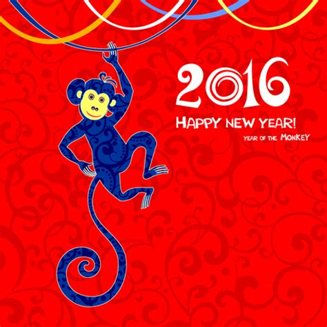 new year monkey 2016 the monkey new year design vector 03 vector