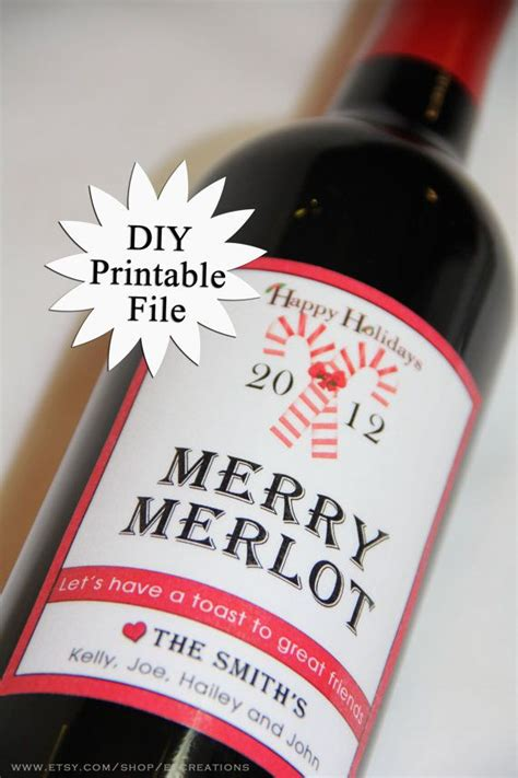 printable christmas wine labels diy printable personalized holiday wine labels by