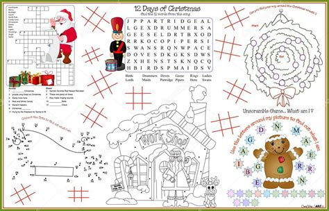 printable xmas placemats placemat christmas printable activity sheet 10 stock