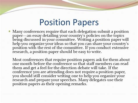 how to write a position paper model un overview ppt