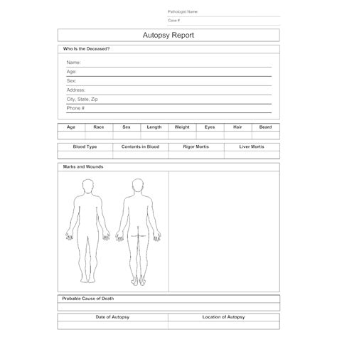 blank autopsy report template autopsy report