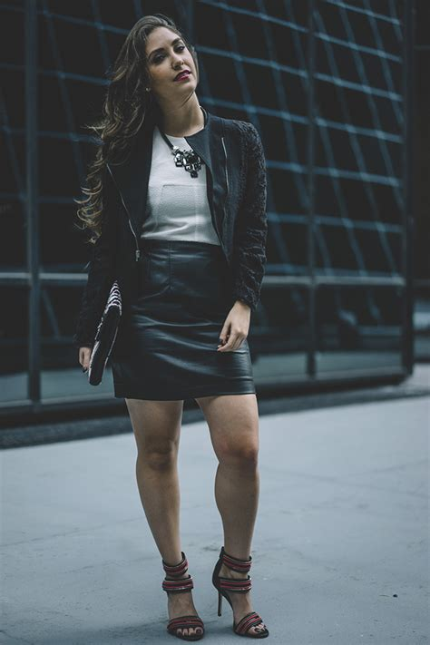 leather skirt and leather jacket dress