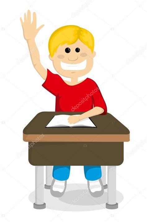imagenes graciosas levantando la mano colegial de dibujos animados levantando la mano vector
