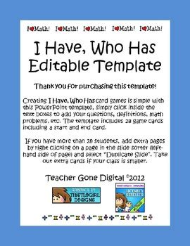 i have who has math card game template editable