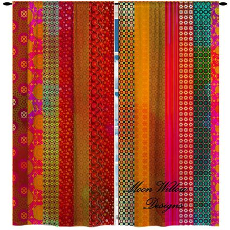 custom curtains hippie funky bohemian pinks by