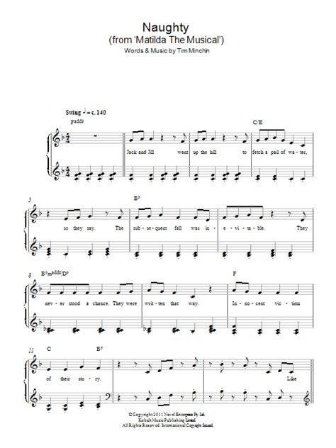 printable lyrics to naughty naughty from matilda the musical sheet music direct
