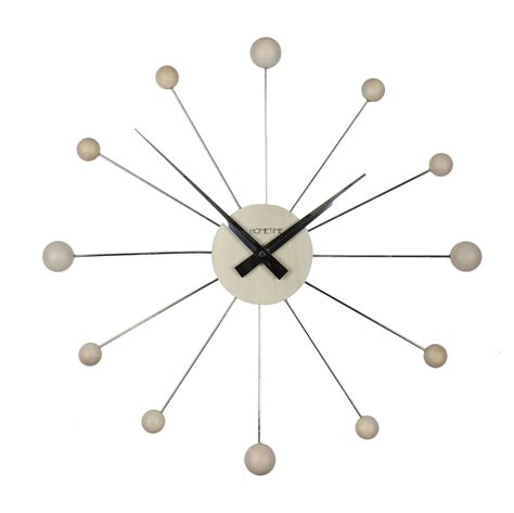 wall clock modern modern chrome and wooden wall clock maple