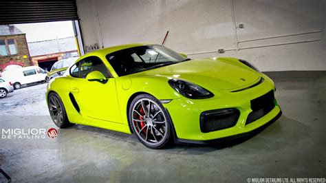 porsche green acid green porsche cayman gt4 gets detailing the