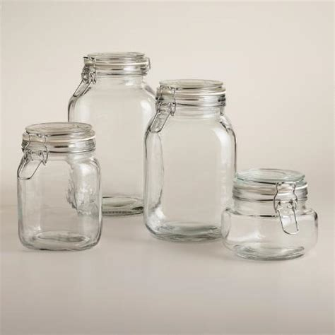 Antique Canisters Kitchen by Round Glass Jars With Clamp Lids World Market