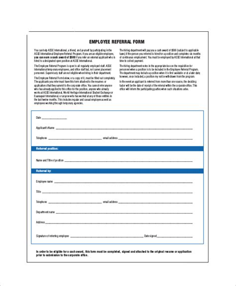referral form template employee referral bonus form www pixshark images