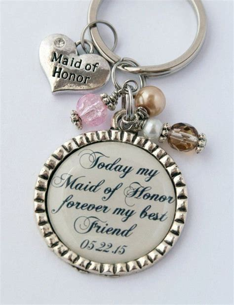 Maid of Honor Keychain, Thank You Gift for Friend, Custom