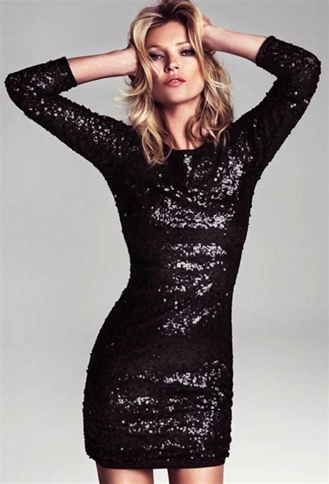 mango kate moss black sequin dress for new