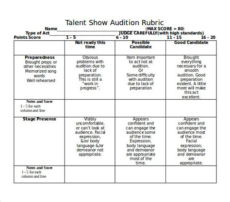 Sample Talent Show Score Sheet | Film Business Plan Template How To Write A Film Business Plan