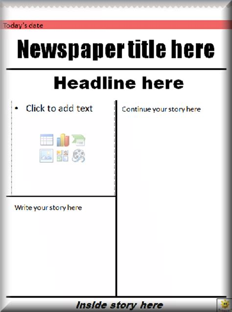 Free Printable Newspaper Template For Students by Blank Front Page Newspaper Template