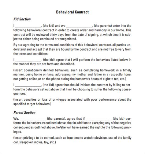 behaviour contract 19 download free documents in pdf doc