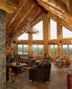 Log Cabin Home Interiors by The Big Windows And High Ceilings Cabin S I
