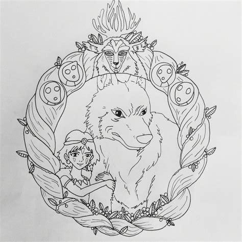 princess mononoke coloring pages sans mask princess mononoke princess mononoke coloring