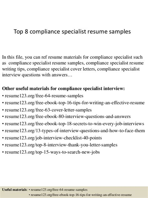Compliance Expert Cover Letter by Compliance Specialist Resume Resume Ideas