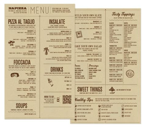 Table Menu by Restaurant Brand Identity Napizza Miller Creative