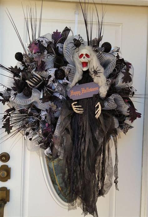 halloween mesh wreath  front doorgrim reaper door