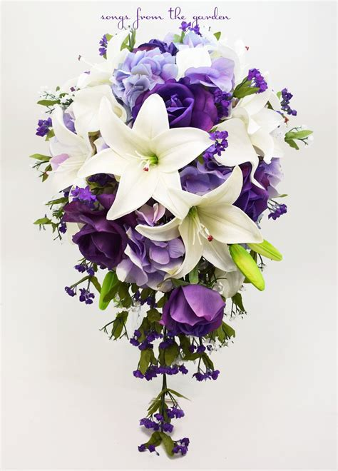 Real Bridal Bouquets by Cascade Bridal Bouquet With Real Touch Purple Roses Real