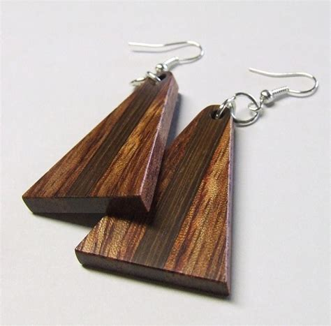 Handmade Wooden Earrings - wood handmade earrings bubinga and