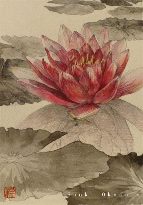 fiore di loto giapponese pittura giapponese di shoko okumura dicembre 2012