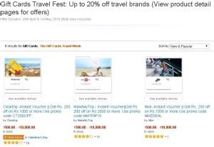 Travel And Get Amazon Gift Card - amazon gift cards travel fest get upto 20 off on travel brands